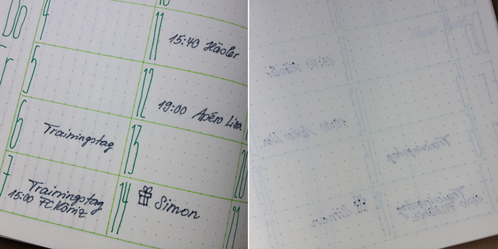 Bullet Journal ghosting