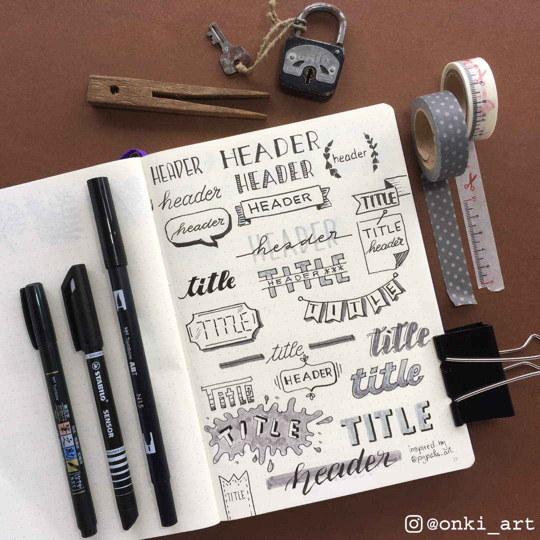 ideas headers and titles Bulle Journal