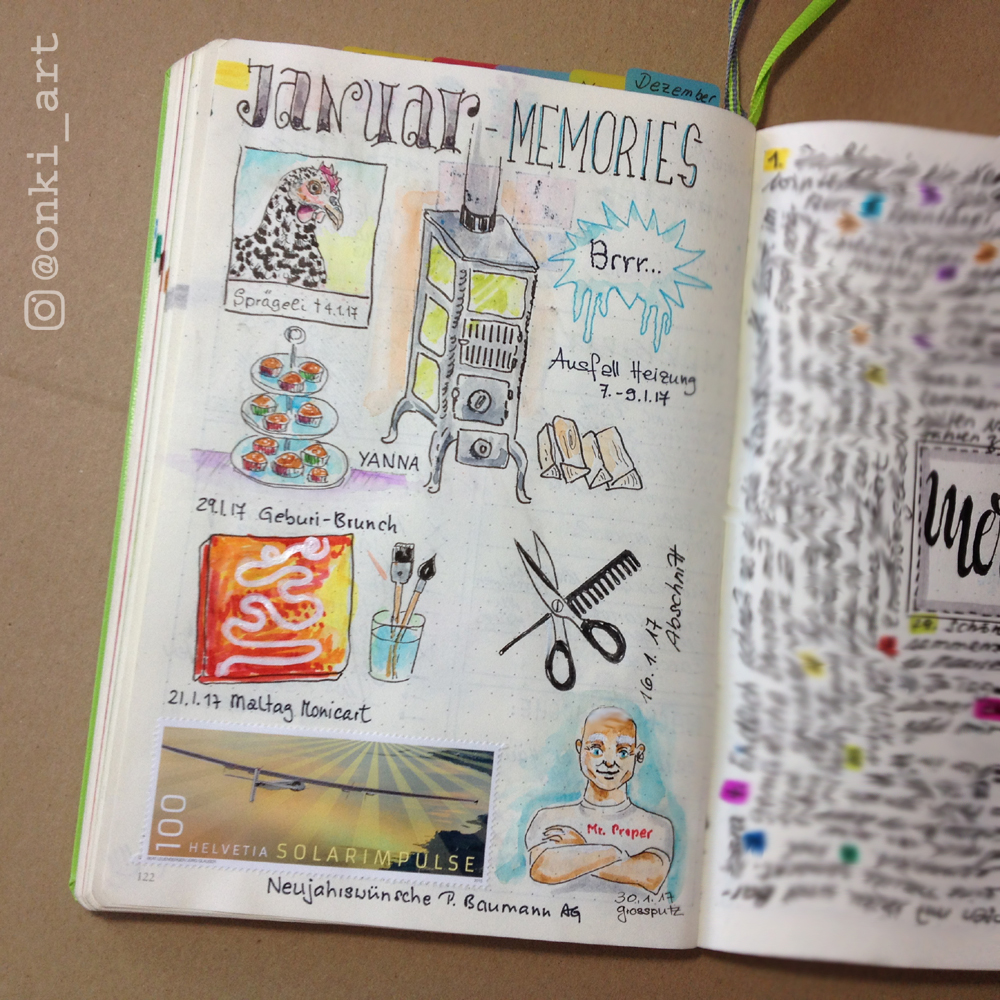Bullet Journal Januar Erinnerungen