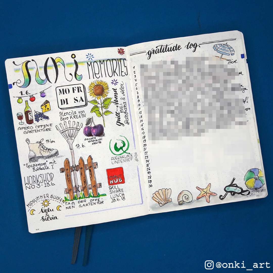 Bullet Journal memories Juni 2018
