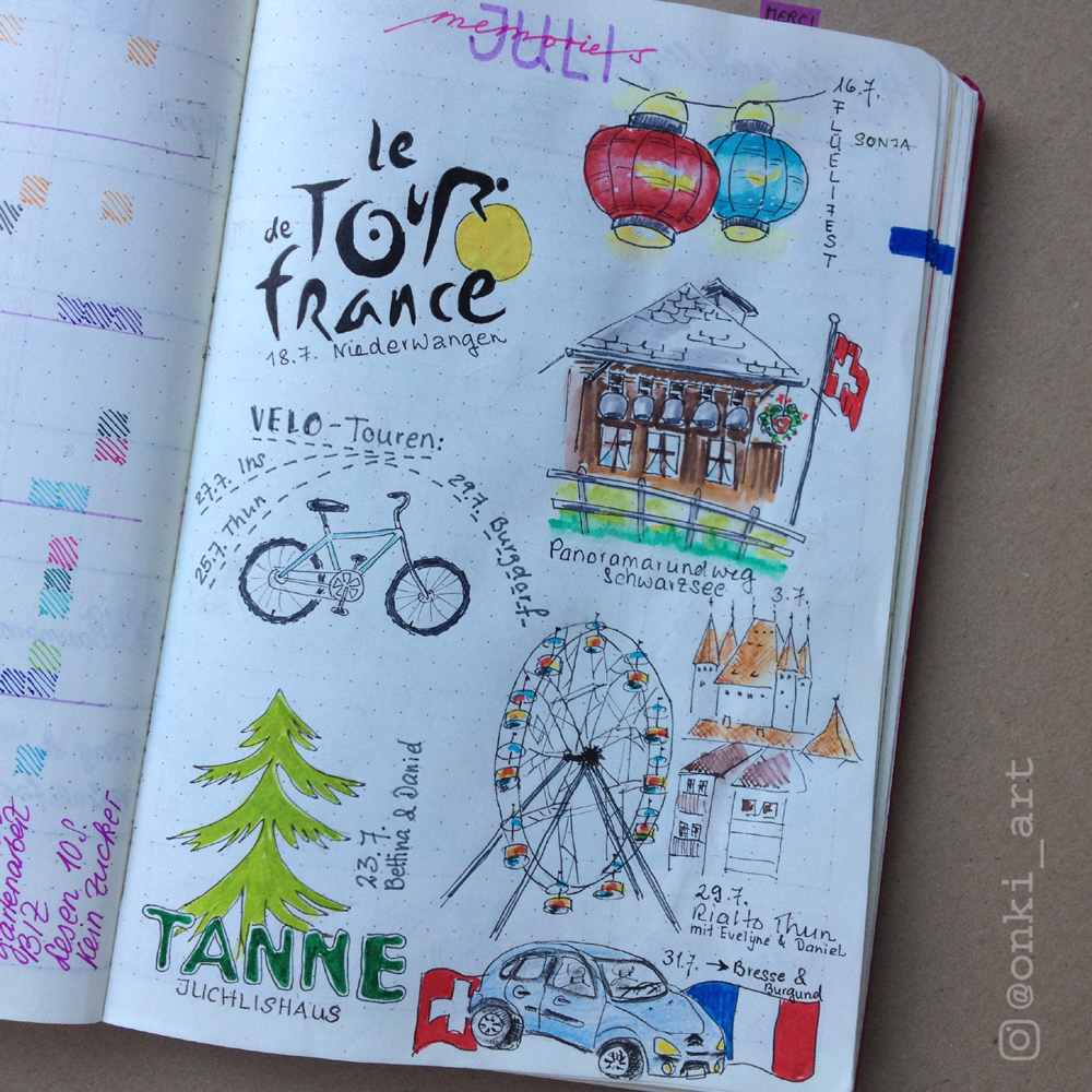 bullet journal memories Juli 2016