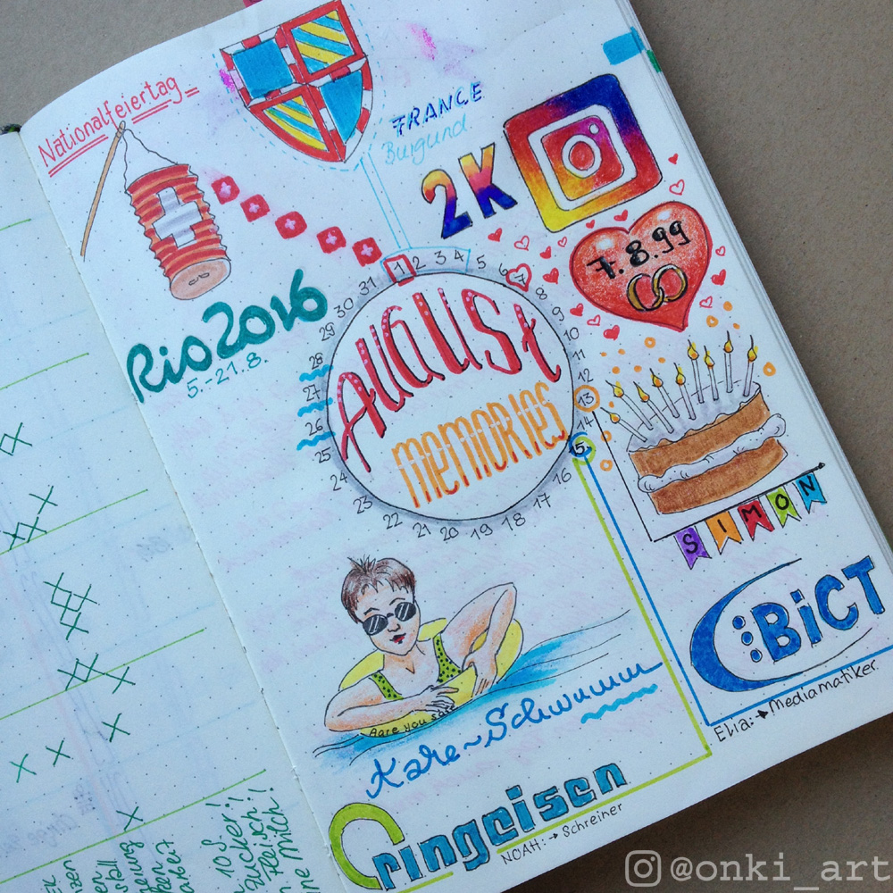 bullet journal memories August 2016