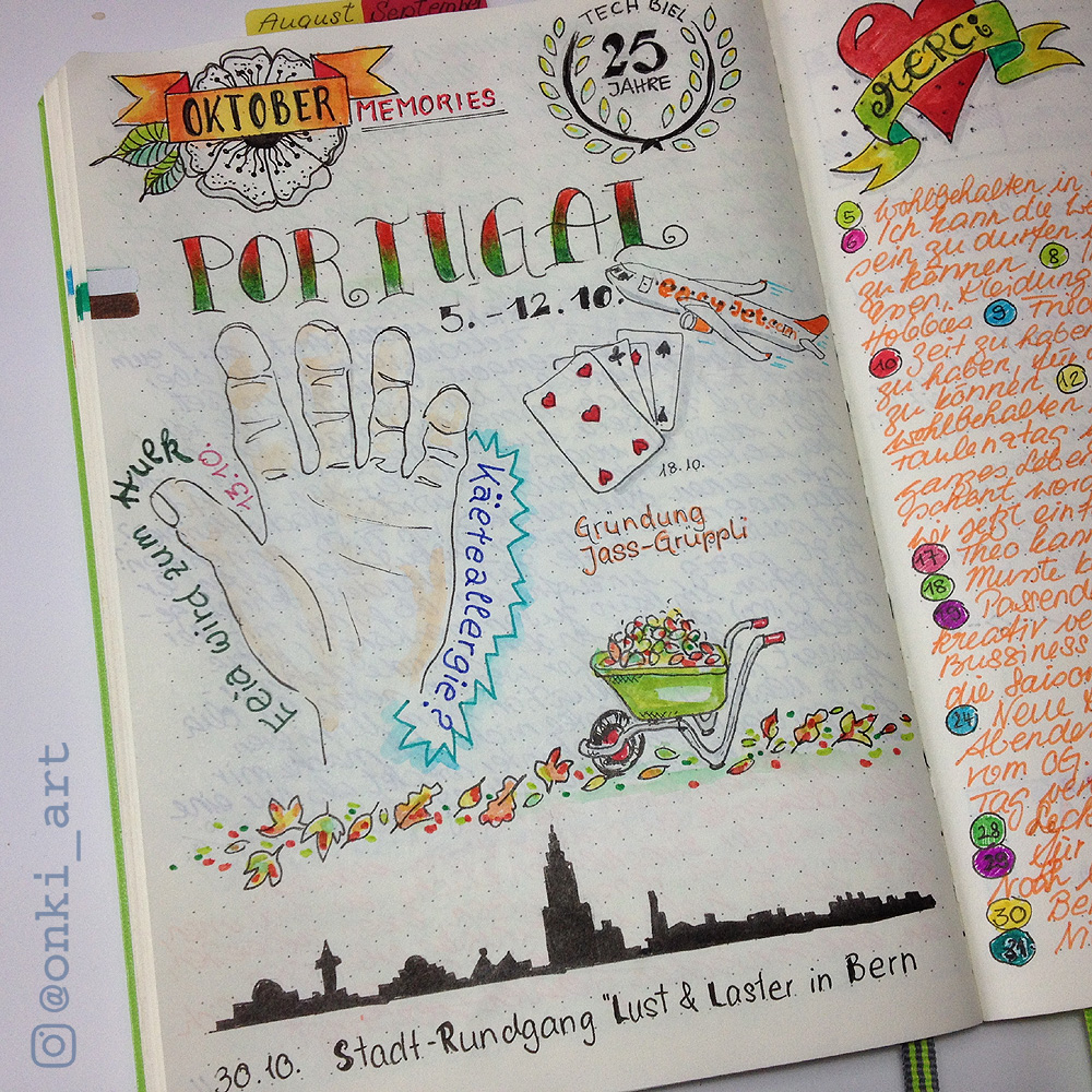 Bullet Journal Oktober Erinnerungen