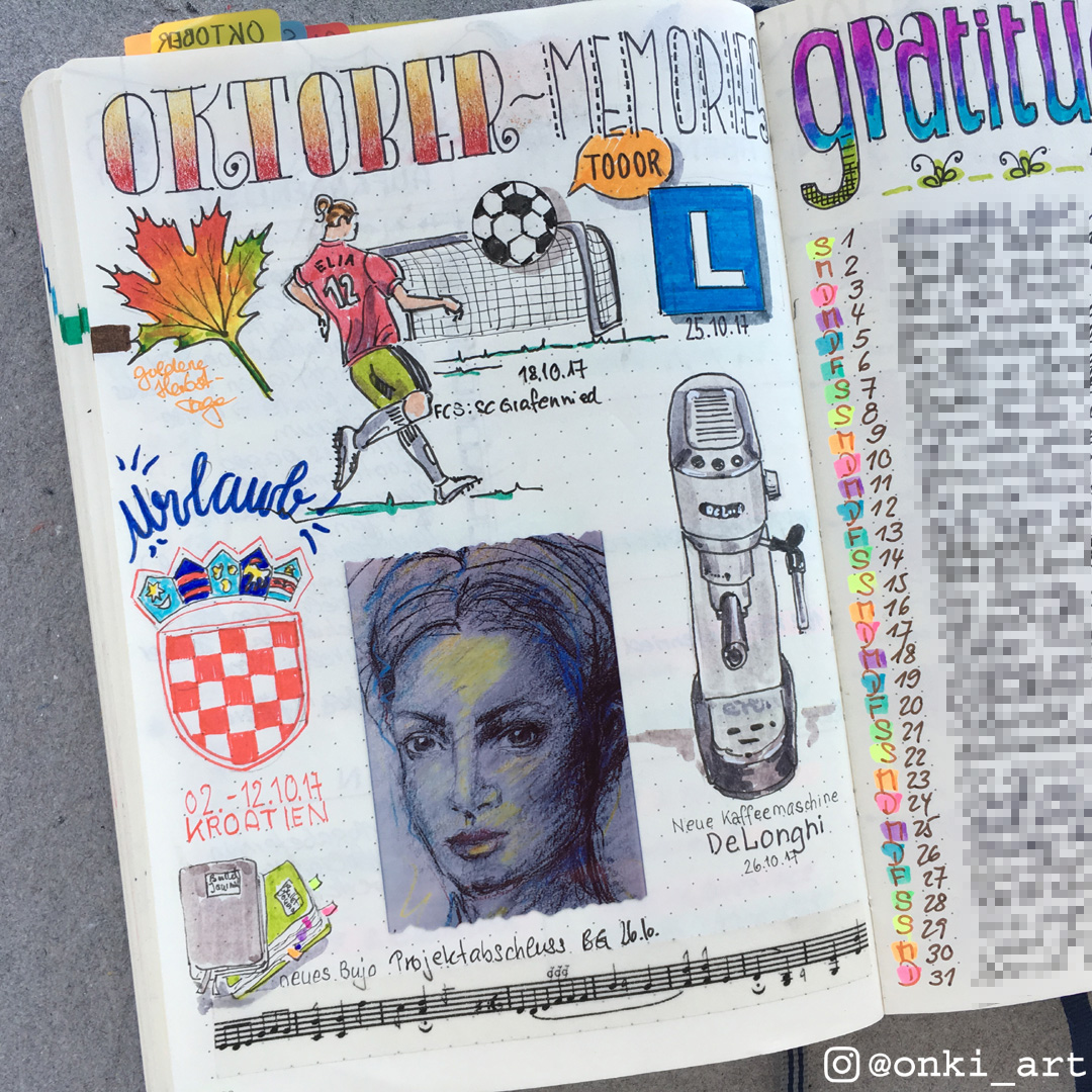 Oktober Erinnerungen Bullet Journal