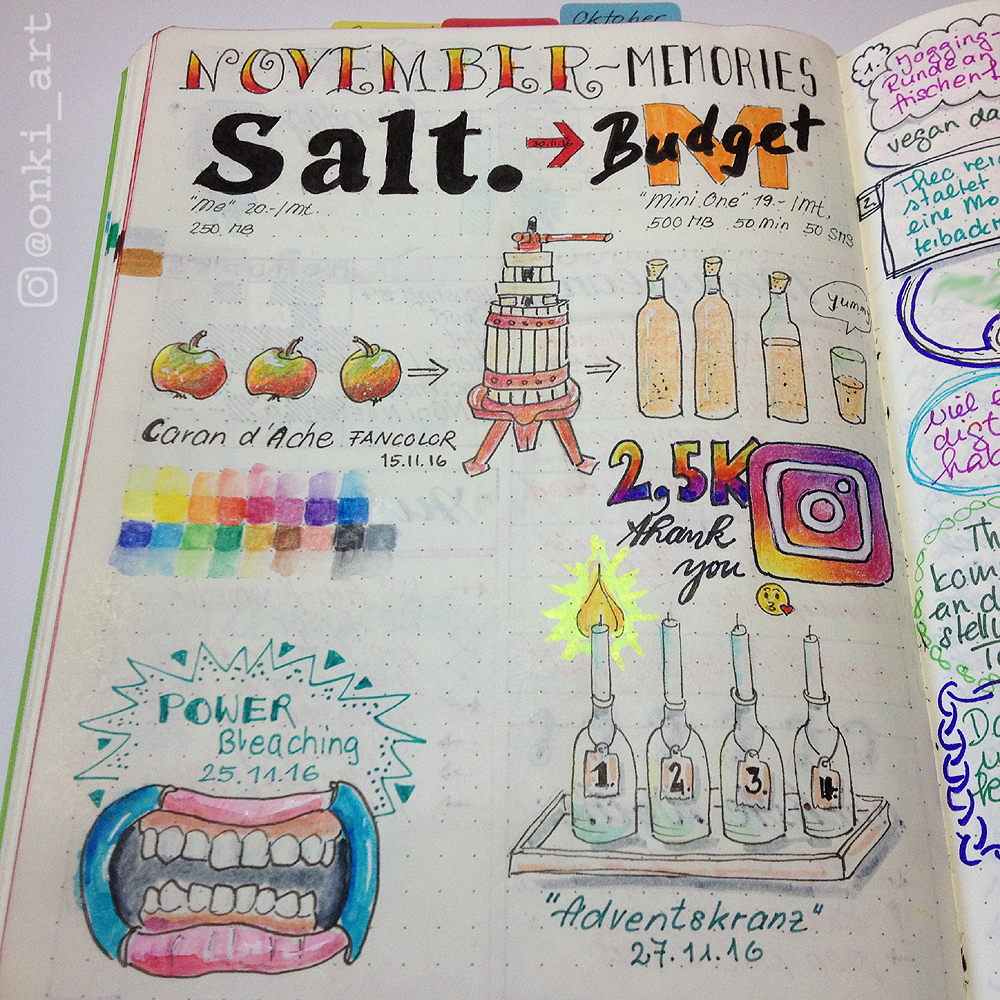 Bullet Journal November Erinnerungen