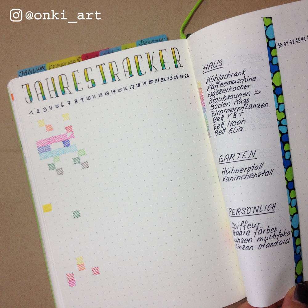 Bullet Journal Jahres-Tracker 2017