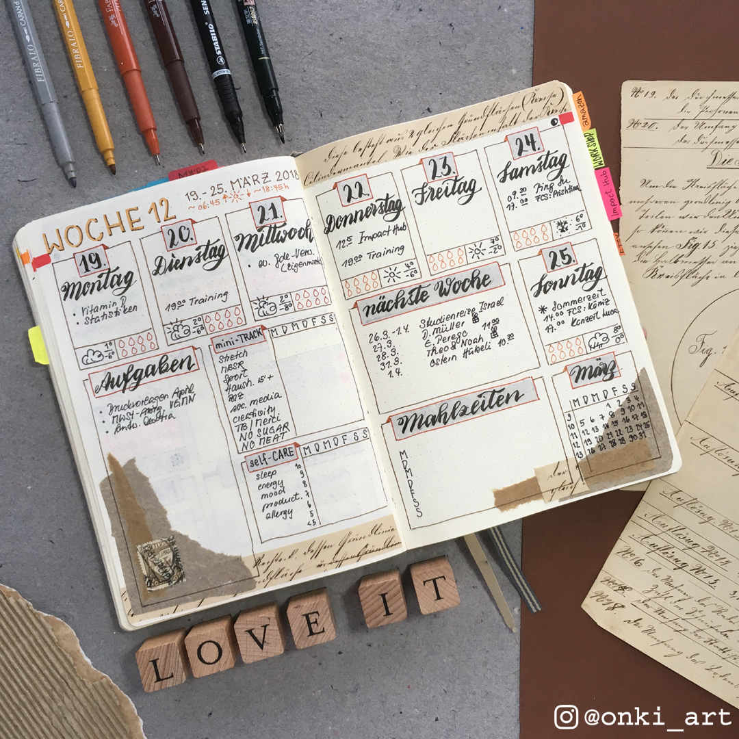 Bullet Journal weekly spread scrapbooking-style