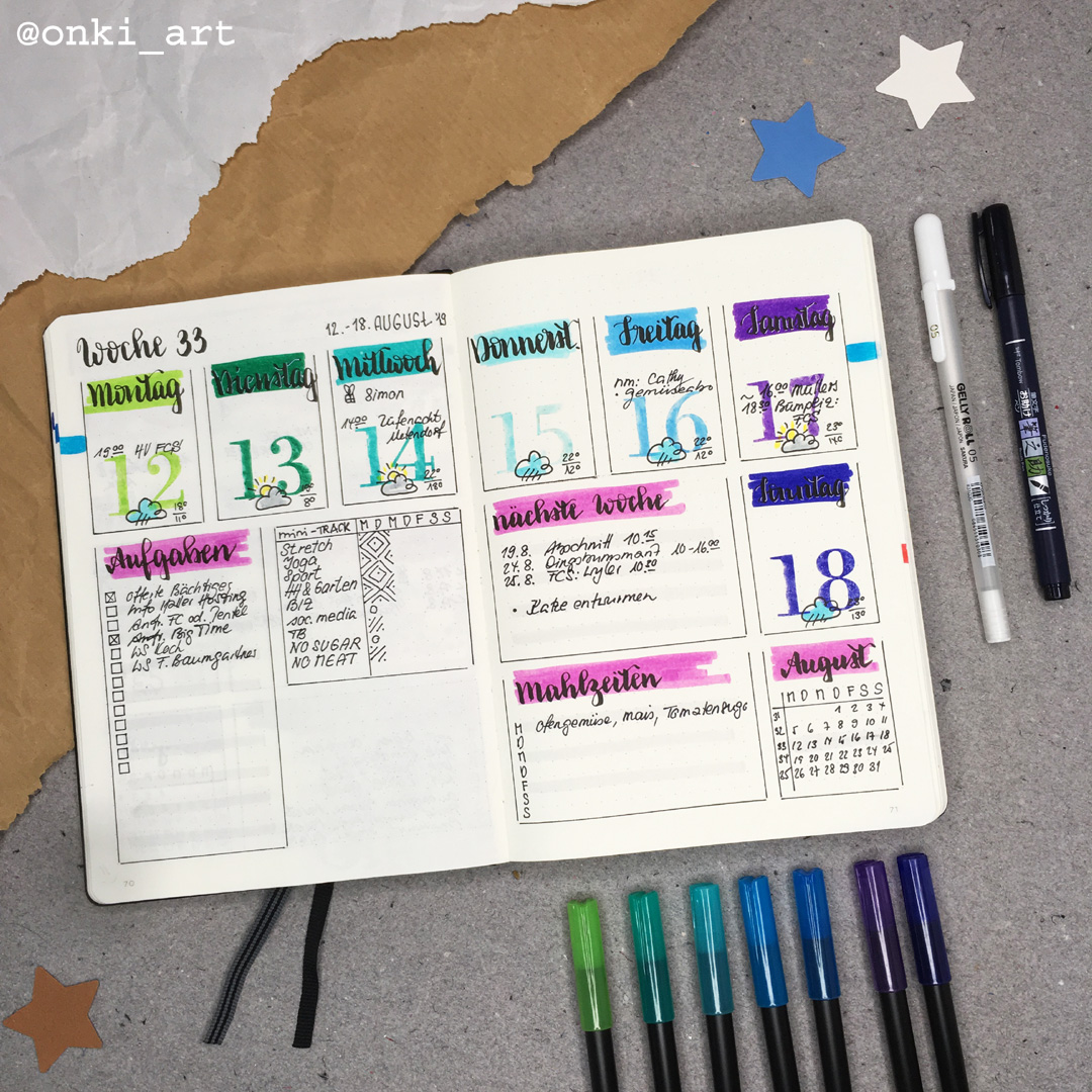 ochenübersicht Bulletjournal weeklyspread 33 2019 colorful