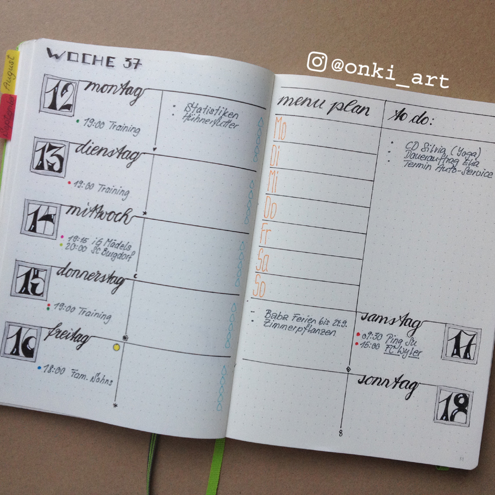bullet journal weekly spread woche 37