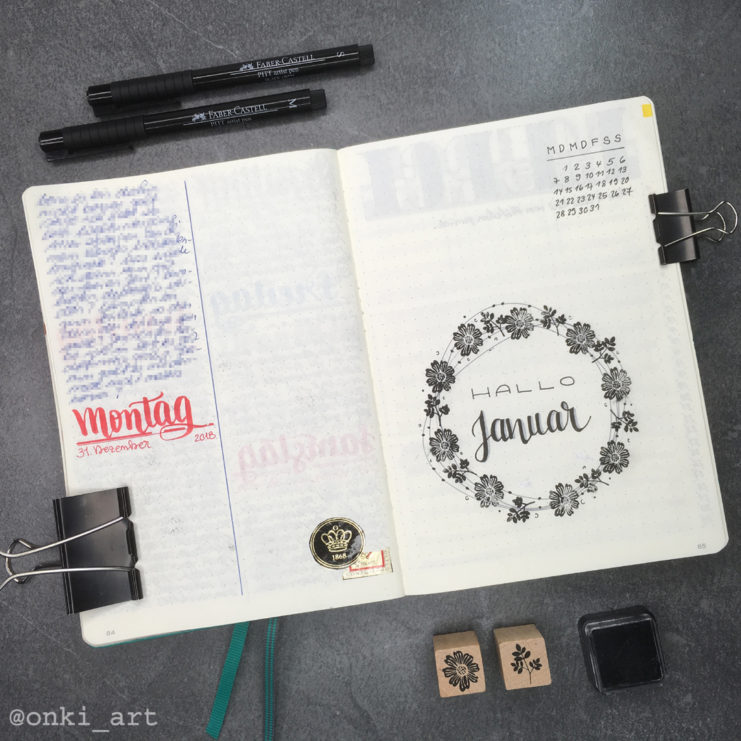 Bullet Journal welcome page 01/2019