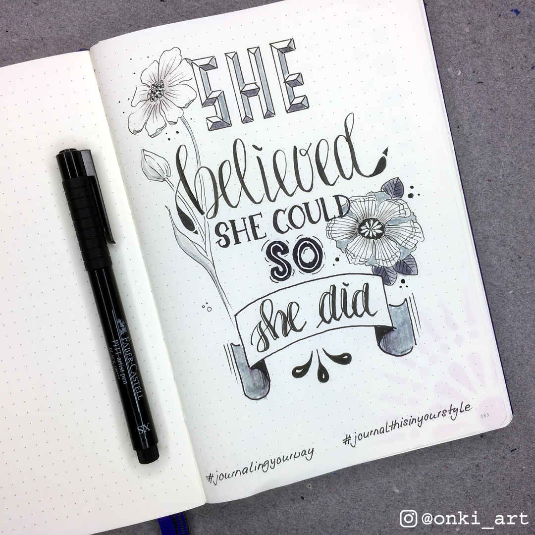 yournalingyourway quote lettering